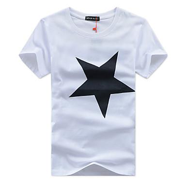 economico Abbigliamento uomo-T-shirt - Taglie forti Per uomo Sport Attivo Fantasia geometrica Rotonda - Cotone Nero XXXL / Manica corta / Primavera / Estate / Autunno