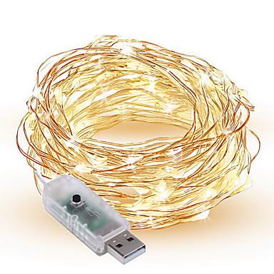 1.5W أضواء سلسلة 300 lm <5V V 10 م 100 الأضواء أبيض دافئ أبيض أحمر أصفر أزرق أخضر أرجواني وردي لون متعدد