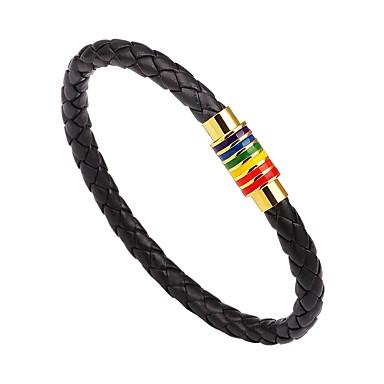 voordelige Heren Armband-Heren Dames Lederen armbanden geweven Magnetisch Eenvoudige Stijl Modieus Roestvast staal Armband sieraden Zwart / Zilver / Bruin Voor Toneel Uitgaan
