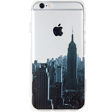 Maska Pentru Apple iPhone 7 Plus iPhone 7 Ultra subțire Transparent Model Capac Spate city ​​View Moale TPU pentru iPhone 7 Plus iPhone 7