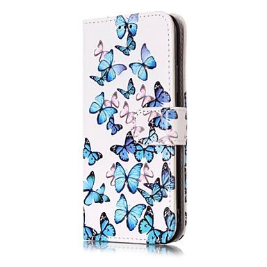 Maska Pentru Apple iPhone X iPhone X iPhone 8 iPhone 8 Plus Titluar Card Portofel Cu Stand Întoarce Model Carcasă Telefon Fluture Greu PU