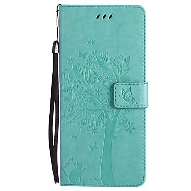 Недорогие Чехлы и кейсы для Galaxy Note 3-Кейс для Назначение SSamsung Galaxy Note 8 / Note 5 / Note 4 Кошелек / Бумажник для карт / со стендом Чехол Кот / дерево Твердый Кожа PU
