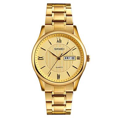 SKMEI Pánské Náramkové hodinky japonština Křemenný 30 m Voděodolné Kalendář Cool Nerez Kapela Analogové Luxus Módní Elegantní Zlatá - Zlatá