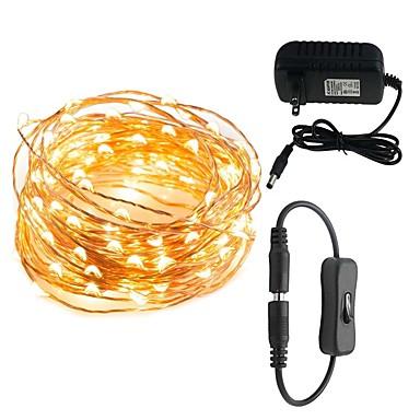 LED-uri de șir de conductor 10m 100 led-uri lumini decorative impermeabile pentru dormitoare patio piese 12v 3a conector adaptor