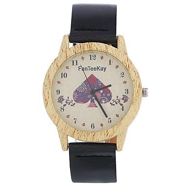 Bărbați Pentru femei Ceas Lemn Unic Creative ceas Ceas de Mână Ceas La Modă Chineză Quartz cald Vânzare Piele Bandă Charm Heart Shape