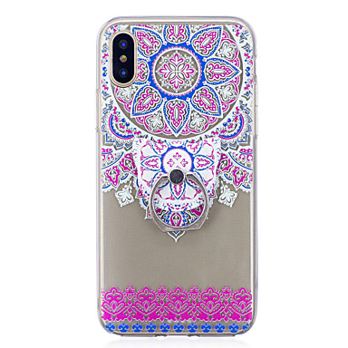 06269931 X Per iPhone 8 Per X iPhone Fantasia Morbido Fiori TPU Custodia 8 Transparente Mandala per disegno iPhone 8 Plus iPhone anello retro Supporto Apple ad iPhone qFw7tp