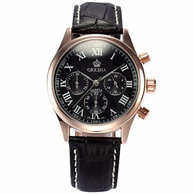 levne Pánské-Pánské Módní hodinky Křemenný Kůže Černá / Hnědá 30 m Voděodolné Analogové Bílá / Stříbrná Růžové zlato / Bílá Černá / Růžové zlato