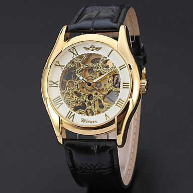 WINNER Men's Skeleton Watch Wrist Watch Automatic self-winding Leather Black 30 m Hollow Engraving