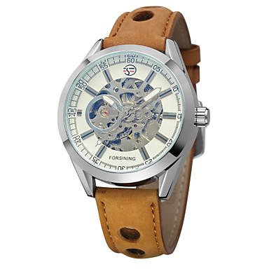 저렴한 남성용 시계-남성용 스켈레톤 시계 손목 시계 오토메틱 셀프-윈딩 가죽 브라운 중공 판화 아날로그 클래식 빈티지 캐쥬얼 패션 - 골드 / 블랙 화이트 / 골드 화이트 / 실버 / 스테인레스 스틸