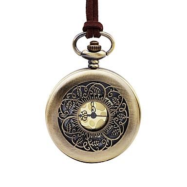 Недорогие Часы на кожаном ремешке-Муж. Карманные часы Кварцевый Кожа Коричневый Cool Крупный циферблат Аналоговый Винтаж - Бронзовый Один год Срок службы батареи