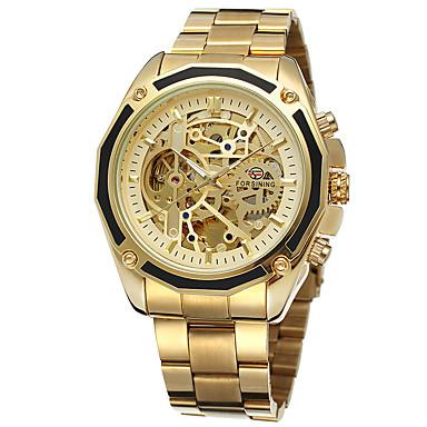 저렴한 남성용 시계-FORSINING 남성용 스켈레톤 시계 손목 시계 오토메틱 셀프-윈딩 스테인레스 스틸 실버 / 골드 중공 판화 아날로그 캐쥬얼 패션 - 골드 / 블랙 골드 / 화이트 화이트 / 실버