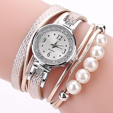 0778c5ce5 Women's Bracelet Watch Simulated Diamond Watch Diamond Watch Quartz Quilted PU  Leather Black / White /