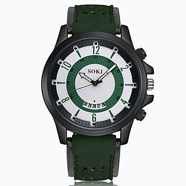 levne Pánské-Pánské Náramkové hodinky Křemenný Kůže Černá / Hnědá / Zelená 30 m Kalendář Analogové Přívěšky Módní - Hnědá Khaki Fruit Green