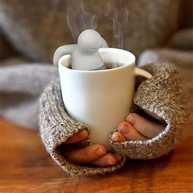 billige Redskap og kopper til kaffe/te-1pc søt mr.tea pose tepose silikon te blad silke infuser bag teapot filter drinkware liten mann form