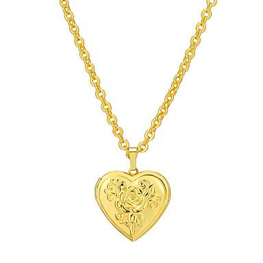 45c8ebfe3736 Mujer Collares con colgantes Collar de medallones Chapado en oro 18K  Guardapelo Corazón Importante Dorado Plata