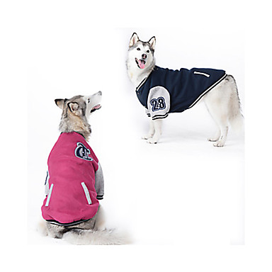 cheap Dog Clothing & Accessories-Dog Sweatshirt Baseball Dog Clothes Color Block Dark Blue Red Cotton Costume For Spring &  Fall Winter Men's Women's Sports Fashion