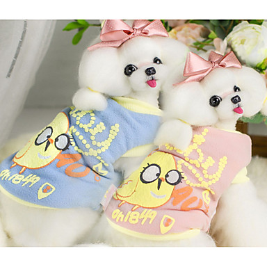 Dog Vest Dog Clothes Casual/Daily Cartoon Blue Pink Costume For Pets