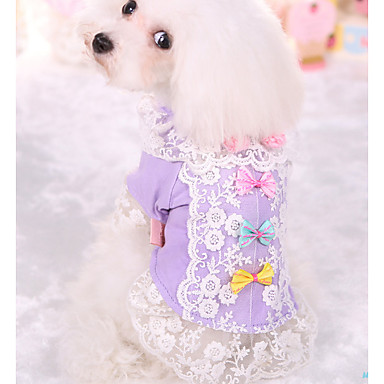 Dog Shirt / T-Shirt Dog Clothes Princess Purple Pink Cotton Costume For Pets Summer Men's Women's Casual/Daily