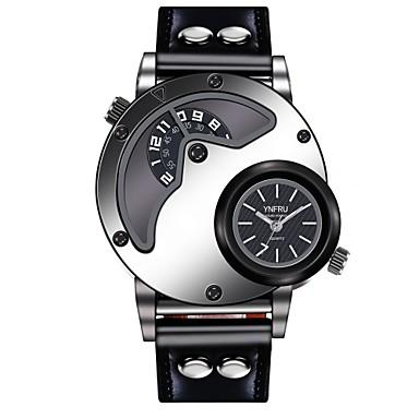 זול שעוני גברים-YNFRU בגדי ריקוד גברים שעון יד קווארץ גדול עור שחור / חום שעונים יום יומיים מגניב צג גדול אנלוגי-דיגיטלי יום יומי אופנתי שעון קריאייטיב ייחודי - לבן שחור חום / מתכת אל חלד