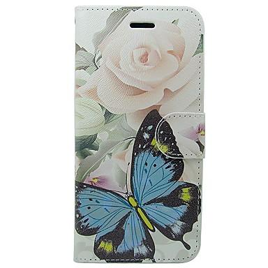 voordelige iPhone 5c hoesjes-hoesje Voor Apple iPhone X / iPhone 8 Plus / iPhone 8 Portemonnee / Kaarthouder / met standaard Volledig hoesje Vlinder / Bloem Zacht PU-nahka