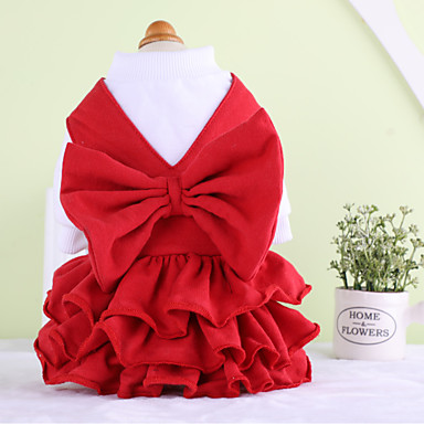 Dog Dress Dog Clothes Casual/Daily Solid Red Costume For Pets