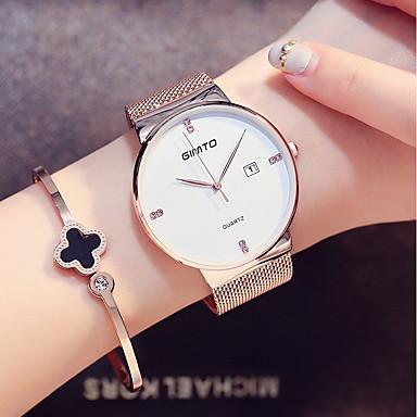 Χαμηλού Κόστους Ανδρικά ρολόγια-Γυναικεία Ρολόι Καρπού χρυσό ρολόι Ιαπωνικά Χαλαζίας Ανοξείδωτο Ατσάλι Μαύρο / Ασημί 30 m Ανθεκτικό στο Νερό Ημερολόγιο Απίθανο Αναλογικό κυρίες Μοντέρνα Μινιμαλιστική - / Ενας χρόνος