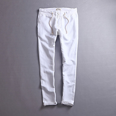 baratos Roupa de Homem Moderna-Homens Comum Diário Feriado Calças Esportivas Calças - Sólido Linho Branco Preto Khaki L XL XXL / Primavera