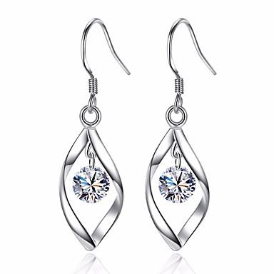 Pentru femei Diamant Zirconiu Cubic Cercei Picătură Leaf Shape femei De Bază Modă cercei Bijuterii Argintiu Pentru Nuntă Zilnic Ceremonie Mascaradă Petrecere Logodnă Bal