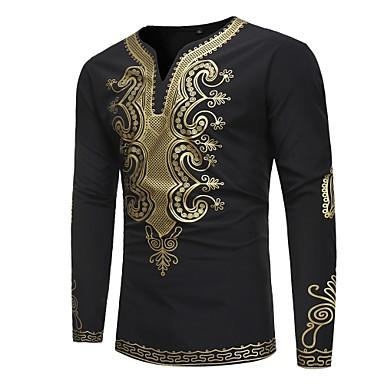 levne Pánské módní oblečení-Pánské - Etno Vintage / Základní Tričko, Tisk Do V Štíhlý Černá XL / Dlouhý rukáv