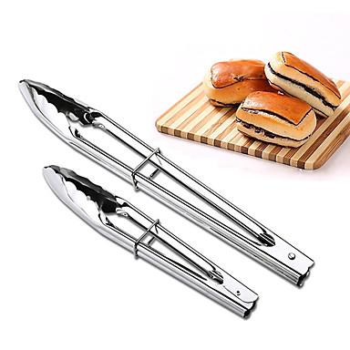 2adet seti masif maşa paslanmaz çelik barbekü maşaları büfe klibi ekmek cımbızları mutfak araç gereçleri