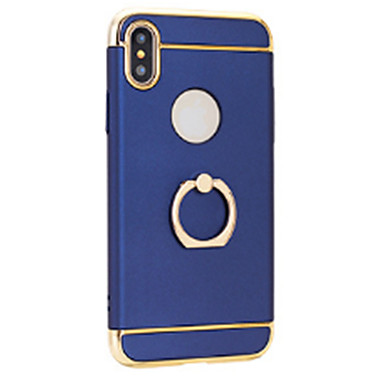 Недорогие Кейсы для iPhone-Кейс для Назначение Apple iPhone X / iPhone 8 Pluss / iPhone 8 Покрытие / Кольца-держатели / Ультратонкий Кейс на заднюю панель Однотонный Твердый ПК