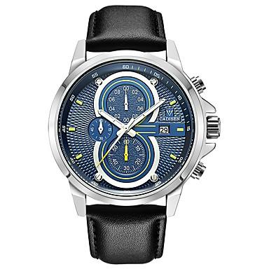 levne Pánské-CADISEN Pánské Sportovní hodinky Módní hodinky Křemenný Kůže Černá 30 m Voděodolné Kalendář Stopky Analogové Módní - Černá / Modrá Bílá / Červená Navy / White Dva roky Životnost baterie / Svítící