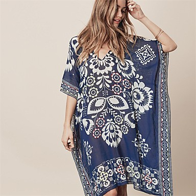 cheap Cover Ups-Women's Boho Blue Cover-Up Swimwear - Floral Print One-Size Blue