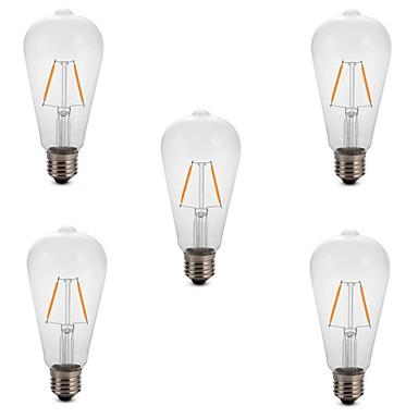 2 W LED Λάμπες Πυράκτωσης 180 lm E26 / E27 ST64 2 LED χάντρες COB Διακοσμητικό Θερμό Λευκό Ψυχρό Λευκό 220-240 V, 5pcs / RoHs