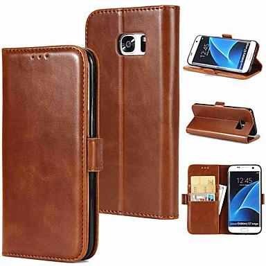 Capinha Para Samsung Galaxy S9 Plus / S9 Porta-Cartão / Flip / Magnética Capa Proteção Completa Sólido Rígida couro legítimo para S9 / S9 Plus / S8 Plus