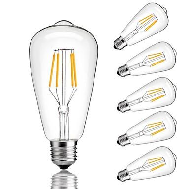 6pcs 4 W LED Λάμπες Πυράκτωσης 360 lm E26 / E27 ST64 4 LED χάντρες COB Διακοσμητικό Θερμό Λευκό Ψυχρό Λευκό 220-240 V / RoHs