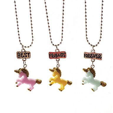 preiswerte Halsketten-Damen Pendant Halskette Pferd Einhorn Elf Zeichentrick Süß Harz Regenbogen Modische Halsketten Schmuck 3 Für Geschenk Alltag