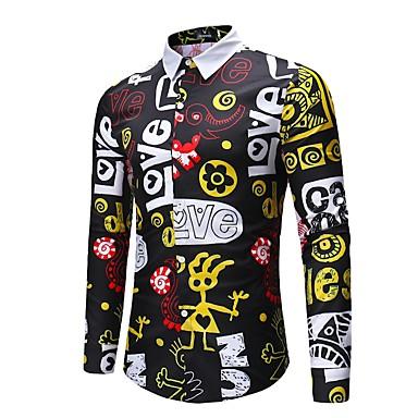 billige Herrers Mode Beklædning-Herre - Portræt Bomuld, Trykt mønster Gade / Punk & gotisk Natklub Skjorte Sort XL / Langærmet