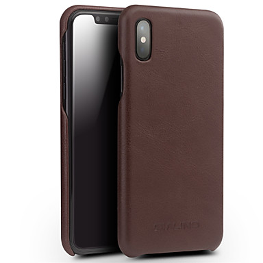 Недорогие Кейсы для iPhone-Кейс для Назначение Apple iPhone X Защита от удара Кейс на заднюю панель Однотонный Твердый Настоящая кожа
