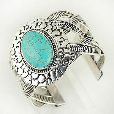 billige Armbånd-Dame Turkis Mansjettarmbånd damer Vintage vestlig stil Armbånd Smykker Sølv Til Daglig
