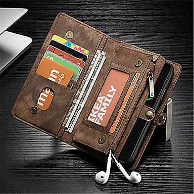 Недорогие Кейсы для iPhone-Кейс для Назначение Apple iPhone X Кошелек / Бумажник для карт / Защита от удара Чехол Однотонный Твердый Настоящая кожа