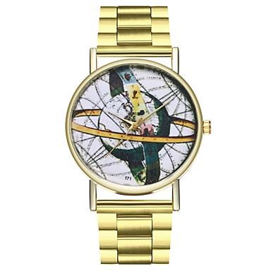 preiswerte Uhren mit Edelstahlarmband-Damen Uhr Weltkarte Edelstahl Gold Kreativ Armbanduhren für den Alltag Punk Analog damas Weltkarte Muster Gold / Ein Jahr / Großes Ziffernblatt / SSUO LR626