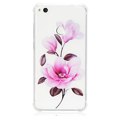 voordelige Huawei Y-serie hoesjes / covers-hoesje Voor Huawei Huawei P20 lite / P10 Lite / Huawei P9 Lite Schokbestendig / Transparant / Patroon Achterkant Bloem Zacht TPU
