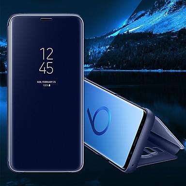 Недорогие Чехлы и кейсы для Galaxy S6 Edge-Кейс для Назначение SSamsung Galaxy S8 Plus / S8 / S7 edge со стендом / Зеркальная поверхность / Флип Чехол Однотонный Твердый Кожа PU