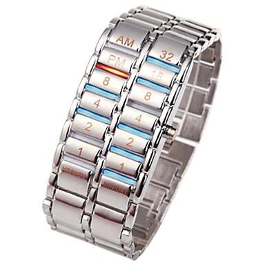 Недорогие Часы на металлическом ремешке-Муж. электронные часы Нержавеющая сталь Черный / Серебристый металл 30 m Секундомер Творчество Новый дизайн Цифровой Роскошь Кольцеобразный - Черный Серебряный Один год Срок службы батареи