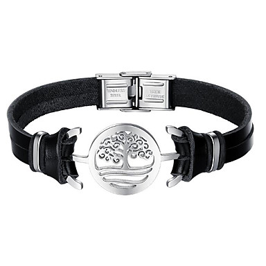 88a107d78 cheap Bracelets-Men's Leather Bracelet Tree of Life Fashion Stainless  Steel