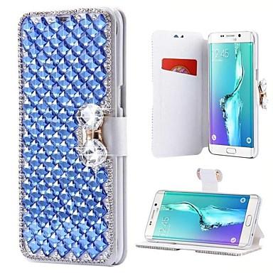 رخيصةأون Galaxy Note 4 أغطية / كفرات-غطاء من أجل Samsung Galaxy Note 8 / Note 5 / Note 4 حامل البطاقات / حجر كريم / مع حامل غطاء كامل للجسم لون سادة قاسي جلد PU