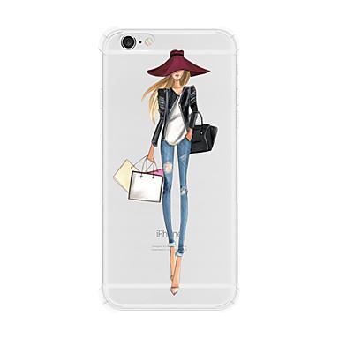 Недорогие Кейсы для iPhone-Кейс для Назначение Apple iPhone X / iPhone 8 Pluss / iPhone 8 Защита от удара / Прозрачный Кейс на заднюю панель Соблазнительная девушка Твердый ТПУ / PC (поликарбонат)