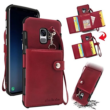 Недорогие Чехлы и кейсы для Galaxy S-Кейс для Назначение SSamsung Galaxy S9 / S9 Plus / S8 Plus Кошелек / Бумажник для карт / Защита от удара Кейс на заднюю панель Однотонный Твердый Настоящая кожа