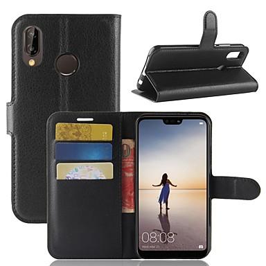 Coque Pour Huawei P20 lite P20 Porte Carte Portefeuille Avec Support Clapet Coque Intégrale Couleur Pleine Dur faux cuir pour Huawei P20